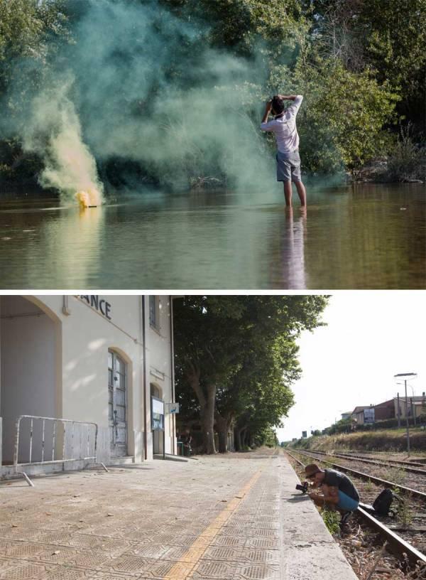 Due scatti realizzati da Luca Sochi durante il lavoro di Filippo Minelli e Nico Lopez Bruchi